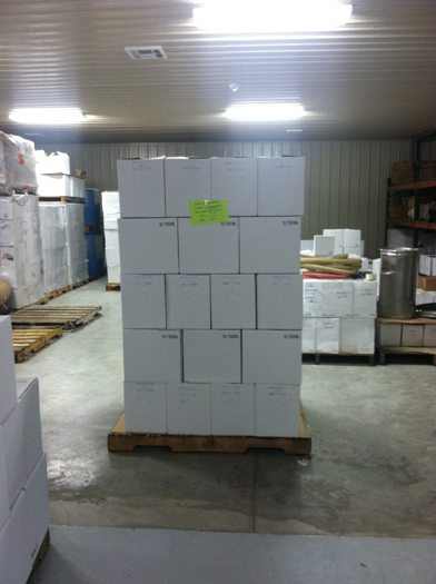 Pallet of filled bottles.